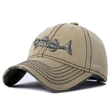 Embroidery Fish Bone Baseball Cap
