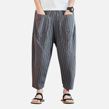 Mens Chinese Style Solid Casual Straight Harem Pants