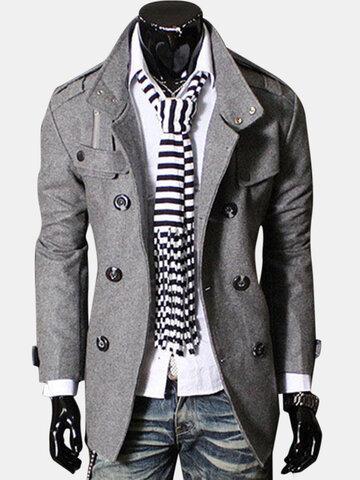 a2090c7575abe Mens Double Breasted Stand Collar Trench Coat