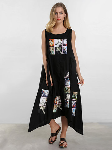 Color Block Printed Sleeveless Dress