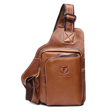 Bullcaptain bolsa pectoral de cuero genuino de comercio bolsa casual al hombro en bandolera al aire libre para hombres
