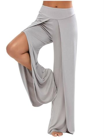 Casual Loose Elastic Waist Women Slit Wide Leg Pants