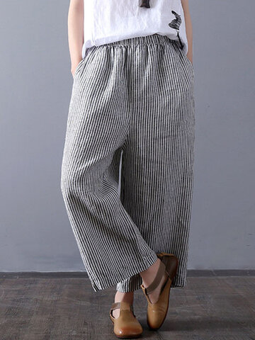 Vintage Stripe Wide Leg Pants