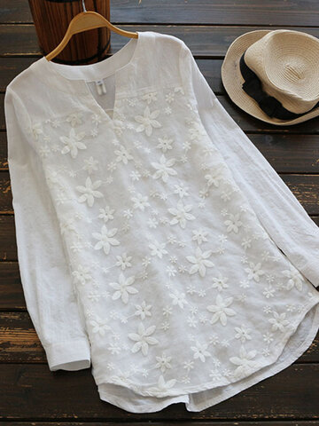 Embroidered V-Neck Long Sleeve White Blouse