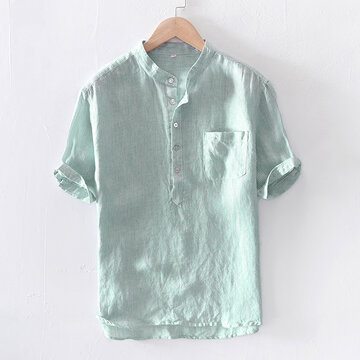 Mens Stripe Cotton Linen Casual Short Sleeve T-shirts