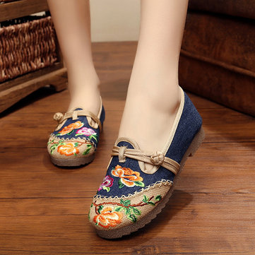 Folkways Flower Embroidered Cotton Flat Shoes