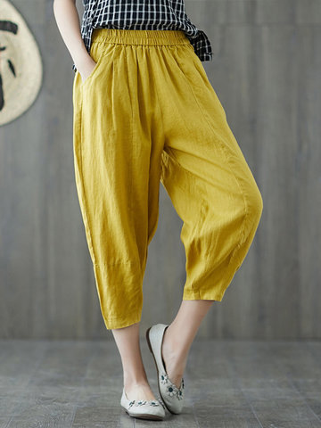 Solid Color Pockets Cotton Harem Pants