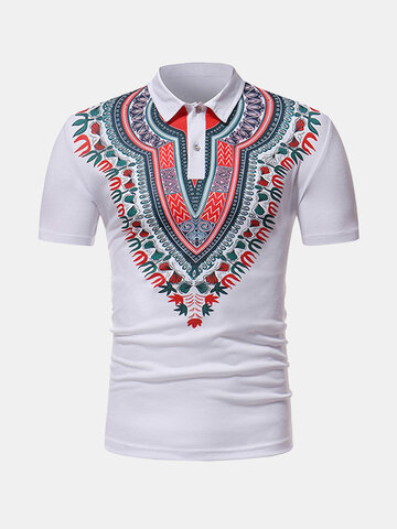 African Style Printed Casual Golf Shirt