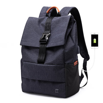 TANGCOOL USB Port Backpack Casual Business Laptop Bags, Black blue