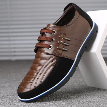 Men Genuine Leather Splicing Non-slip Casual Driving Shoes
