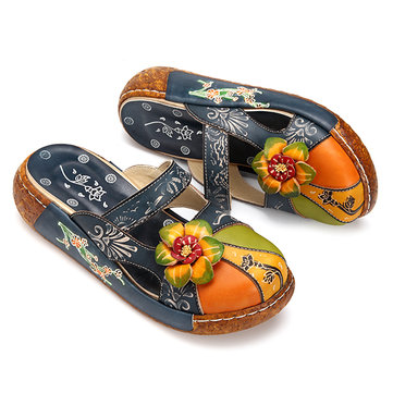 cb6db0c887d9 SOCOFY Vintage Colorful Leather Hollow Out Backless Flower Shoes