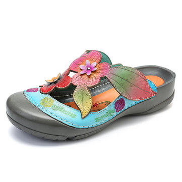 Retro Leather Stitching Flowers Sandals
