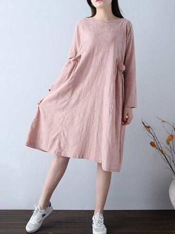 Jacquard Solid Color Vintage Dress, Pink
