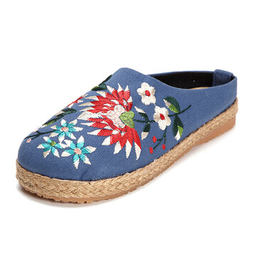 Embroidered Floral Backless Slipper