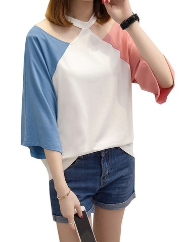 T-shirt à manches trois-quarts Halterneck Color Block Loose