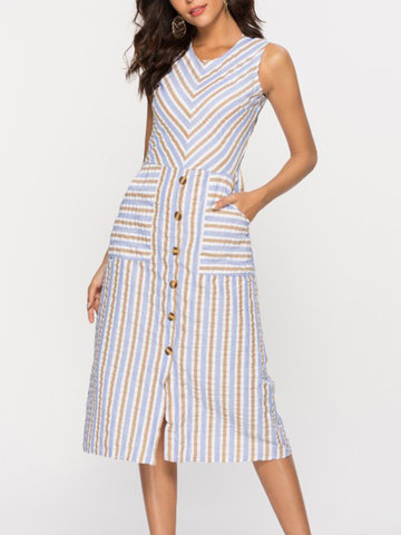 Sleeveless Striped Button Casual Dress