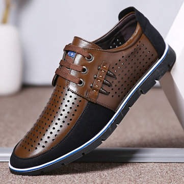 Men Genuine Leather Splicing Soft Casaul Shoes