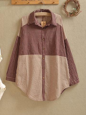 Stripe Plaid Print Irregular Shirt