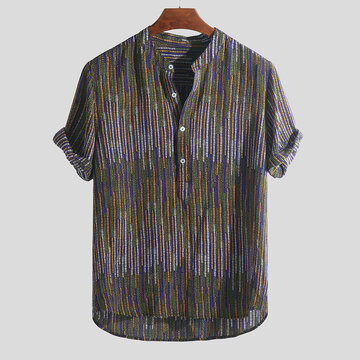 Mens Ethnic Style Printed Stripe Shirts