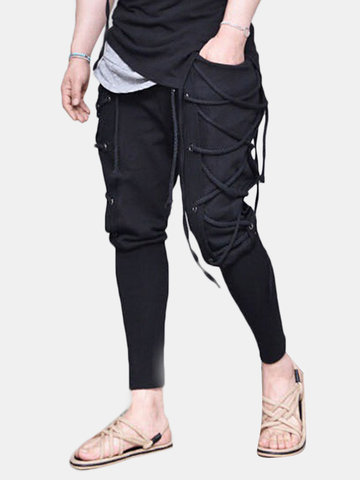 Rope Decorative Slim Fit Casual Pants