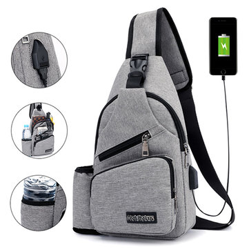 49e7774c17 Large Capacity Outdoor Travel USB Charging Port Sling Bag