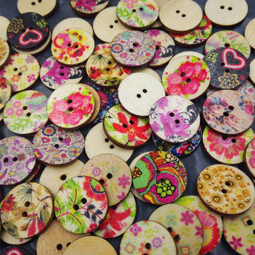 100Pcs Flower Printed Round Wooden Buttons