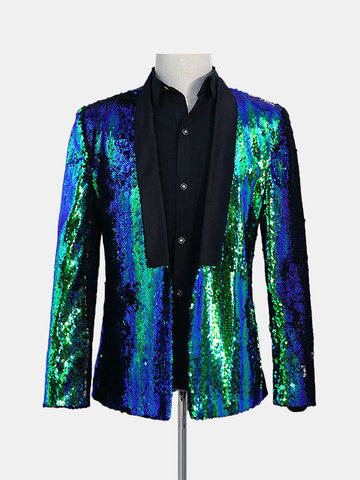 Double Color Sequin Stage Wedding Casual Blazer
