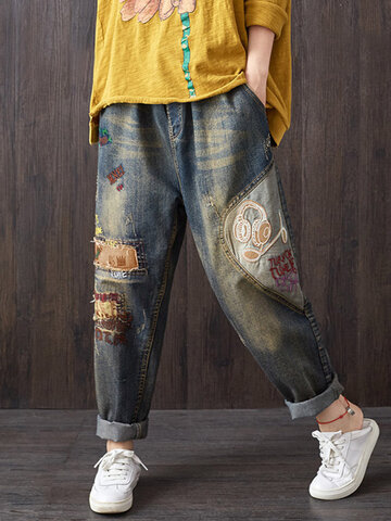 Vintage Denim Cartoon Patchwork
