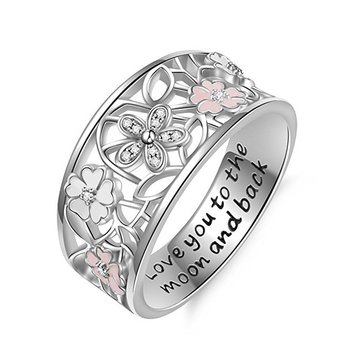 Letters Engraved Flower Ring