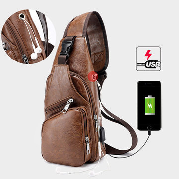 Men Large Size Outdoor USB Charging Port Chest Bag 51e84ae24a162