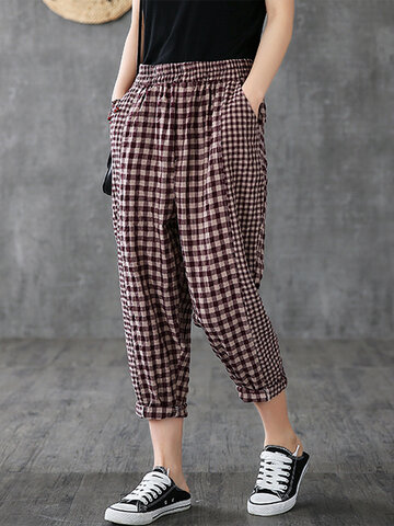 Vintage Plaid Harem Pants