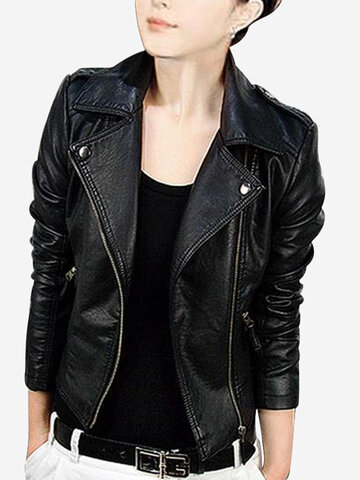 PU Leather Motorcycle Clothing Short Jacket