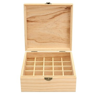 Essential Oil Wooden Storage Box - Classic Aromatherapy 25 Slot Wood Organiser