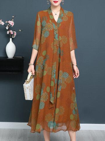 Cravate Vintage Imprimer Elegant Robes