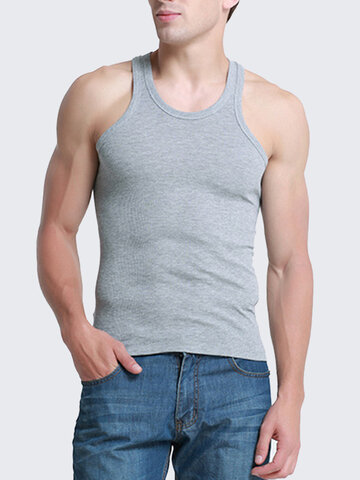 b86a244de18 Mens Sexy Basic Training Tops Cotton Sports Fitness Vest Solid Color Skinny Tank  Tops