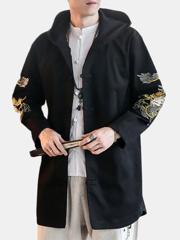 L-5XL Size Chinese Style Embroidery Hooded Jacket
