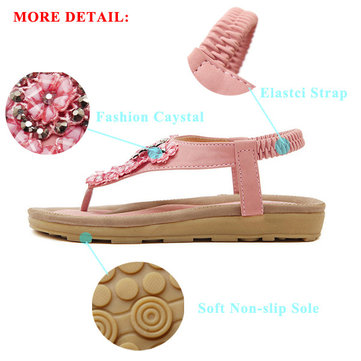 newchic / Bead Crysta Elastic Flat Beach Sandals
