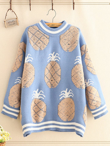 Casual Pineapple Jacquard Sweater