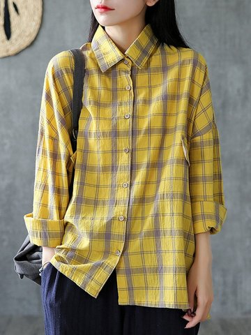 Plaid Loose Women Blusa