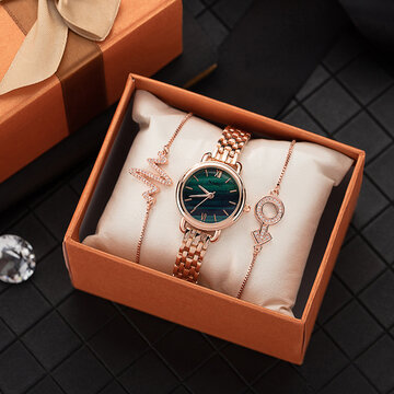 Elegant Emerald Watch Bracelet Set