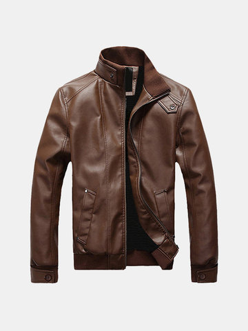 Button Cuff Collar PU Leather Jackets