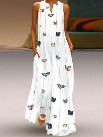 Print Butterfly Sleeveless Maxi Dress