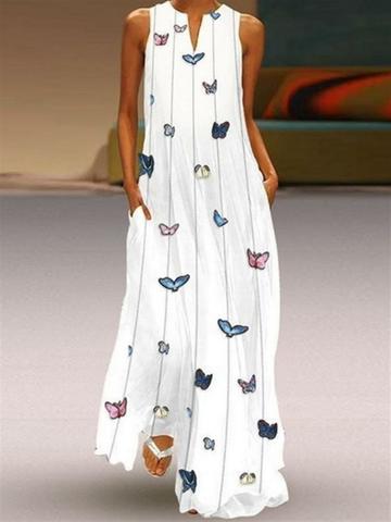 Stampa Maxi vestito senza maniche farfalla