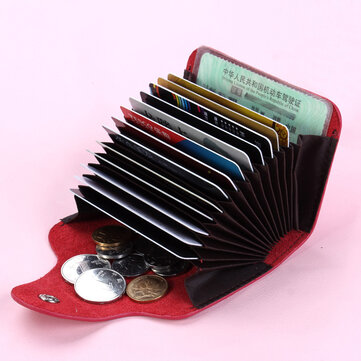 Zhuoerdanni Cowhide Hasp 13 Card Holder Vintage Short Purse