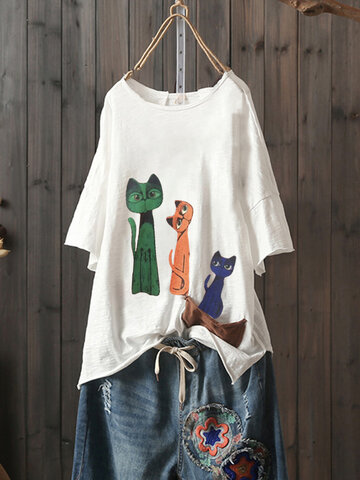 Cartoon Print Short Sleeve T-Shirt