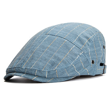 d788fe694a751 Mens Women Summer Thin Breathable Hole Stripe Beret Hat Casual Sunscreen  Visor Flat Caps