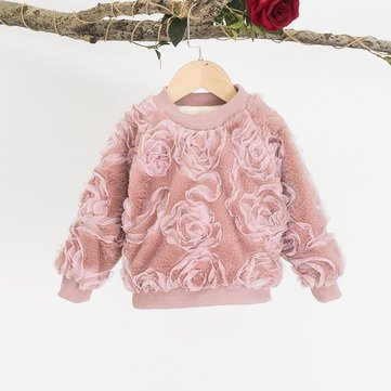 Children Flowers With Velvet Sweater