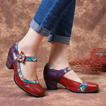 Colorful Floral Genuine Leather Pumps