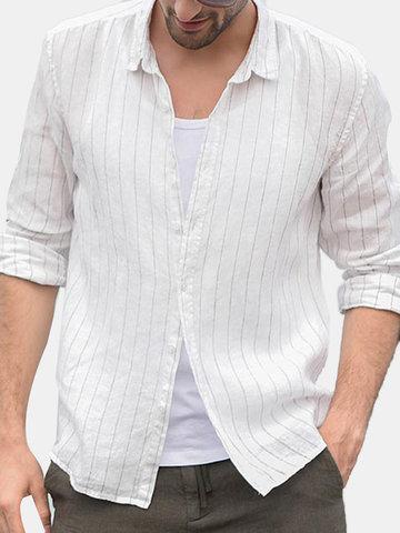 Chemise décontractée en lin à manches longues et coupe ajustée