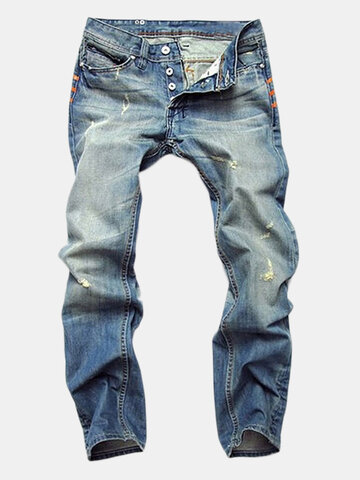 Ripped Fold Stitching Straight Washed Jeans